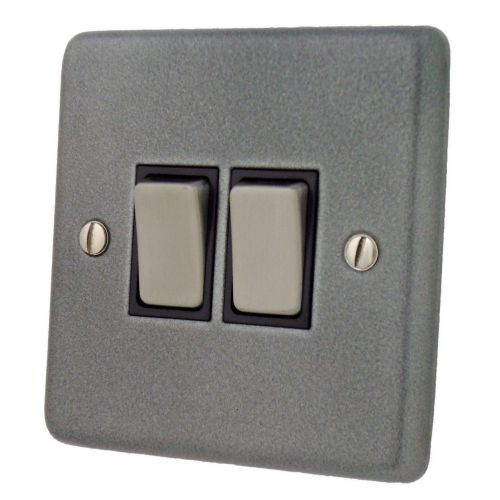 G&H CP302 Standard Plate Pewter 2 Gang 1 or 2 Way Rocker Light Switch